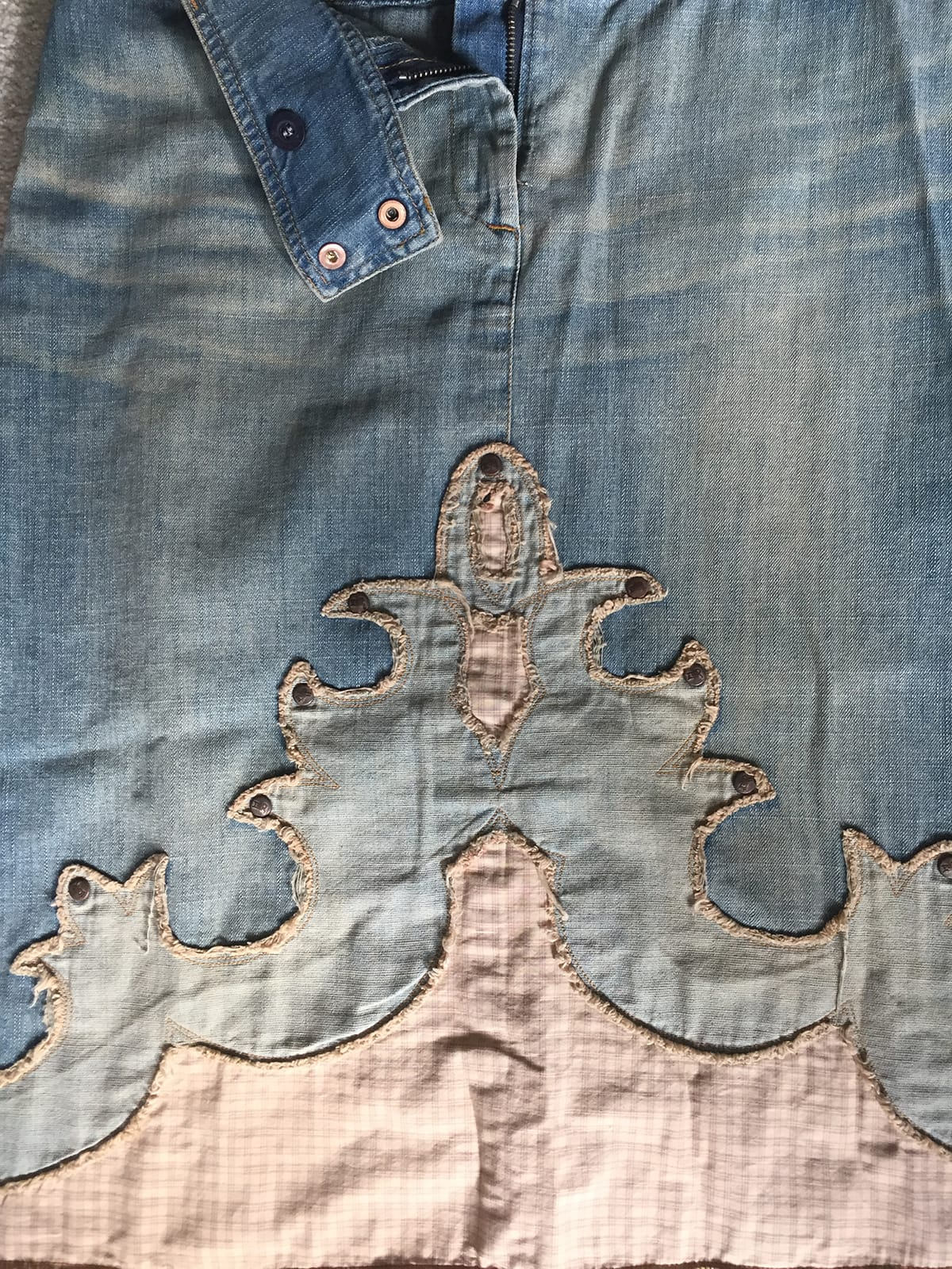 pillow made from a jeans skirt