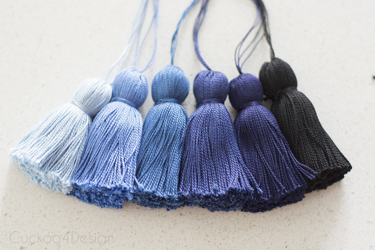 6 different blue shaded tassels