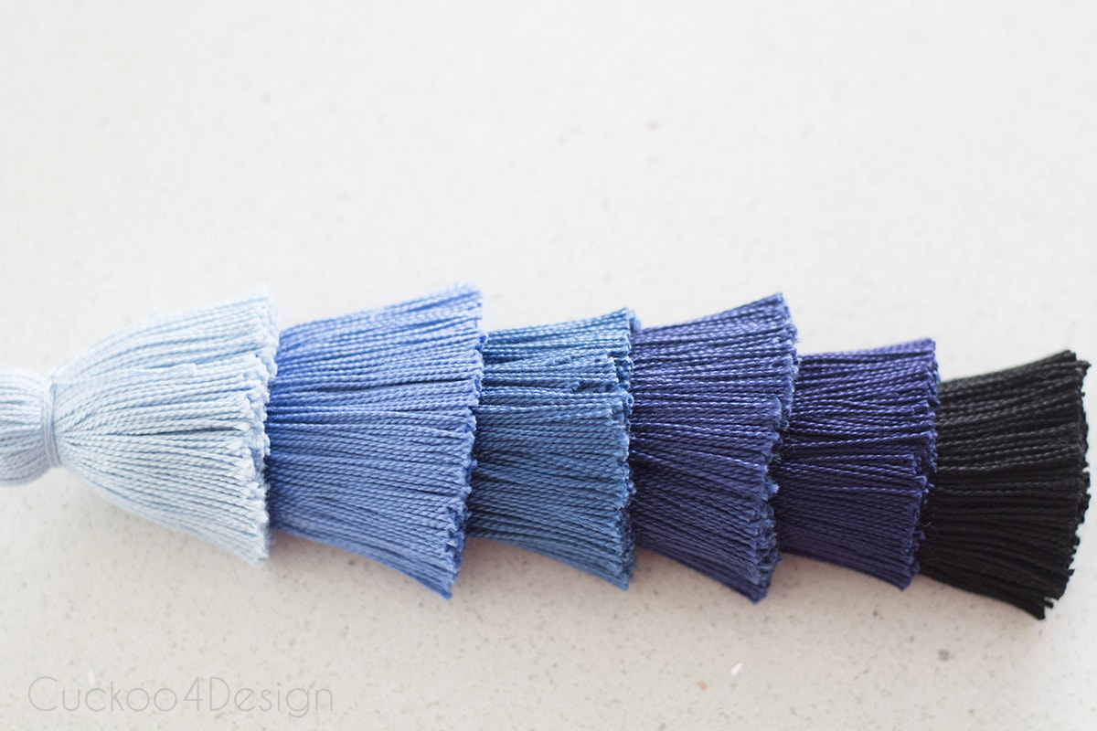 finished look of a blue ombre tassel