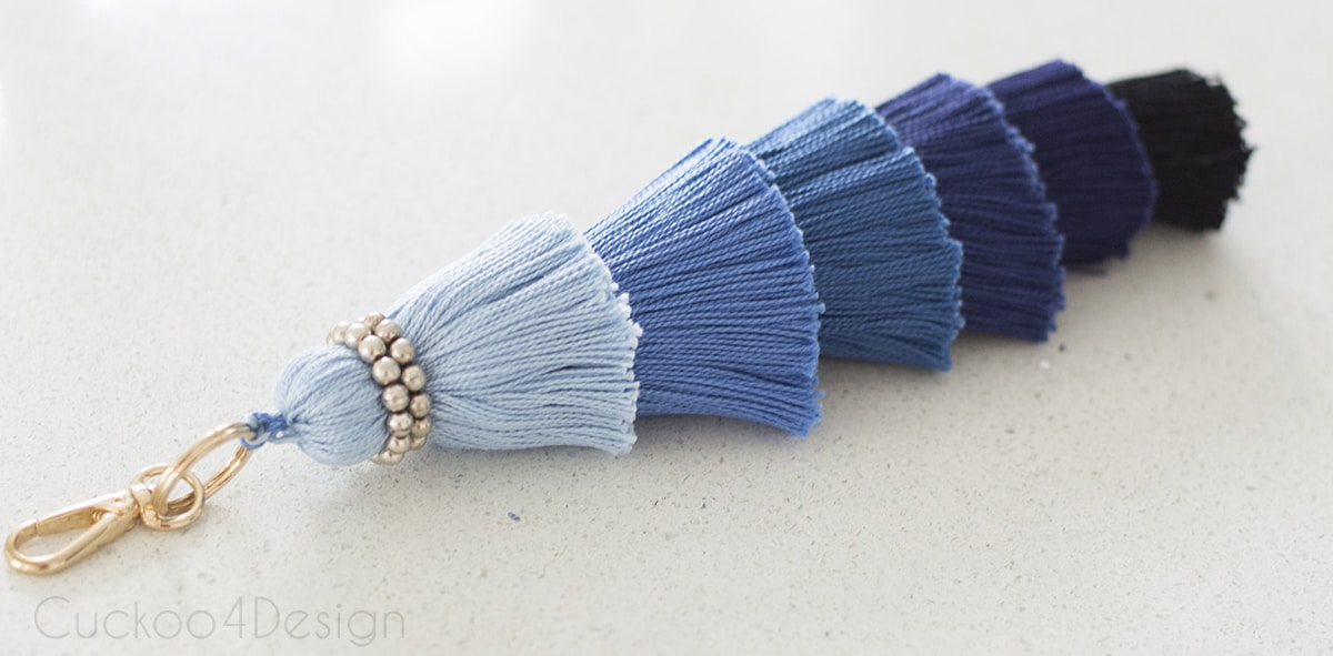 large blue ombre tassel with silver pearls