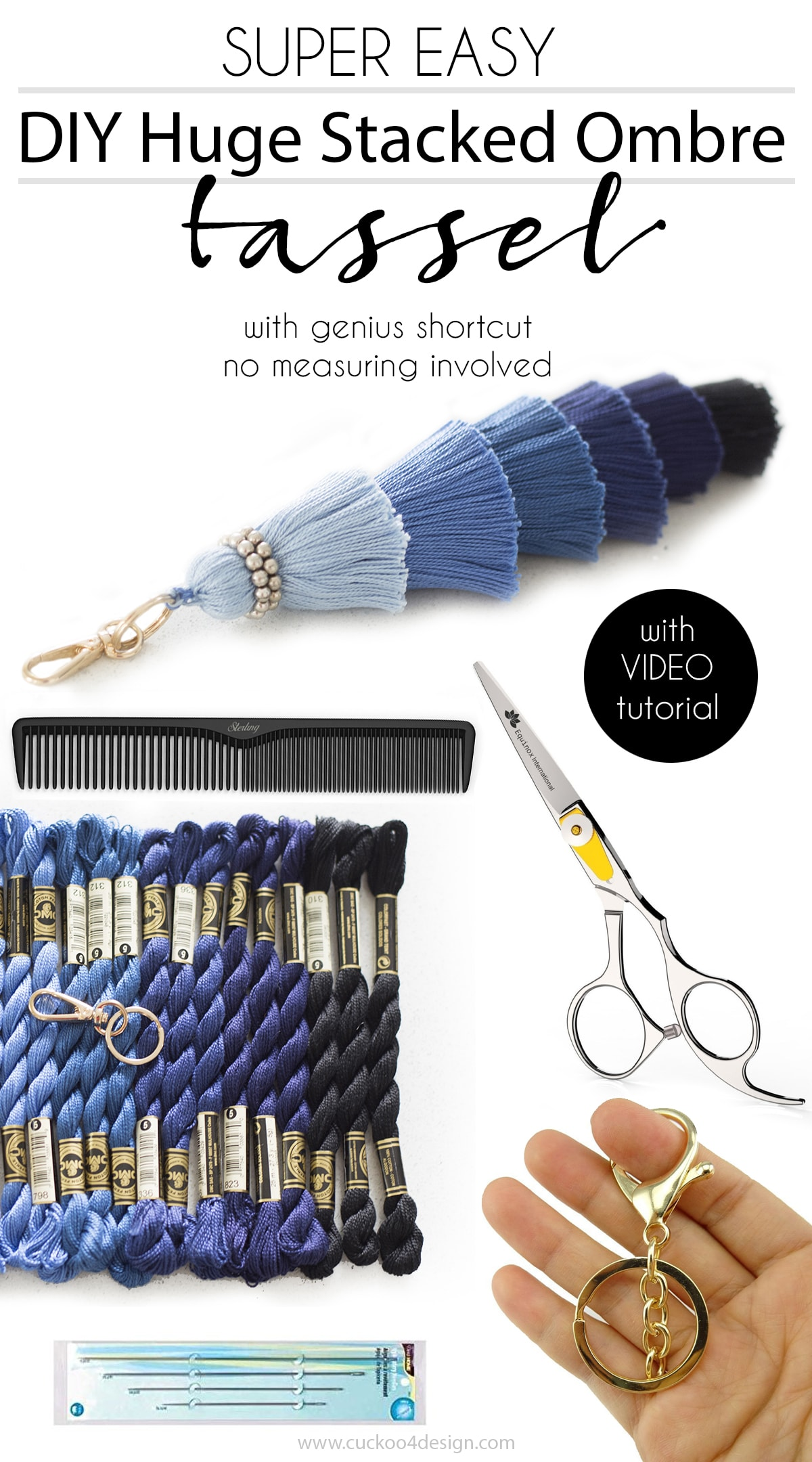 super easy DIY huge stacked ombre tassel with genius shortcut