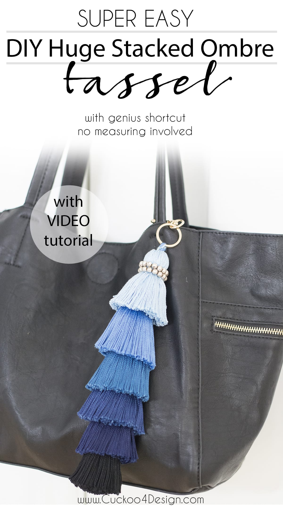 DIY huge stacked ombre tassel with genius shortcut. No measuring involved! | DIY ombre tassel | how to make a stacked ombre tassel | tassel DIY | blue ombre tassel | purse tassel | home decor tassel #tassel #tassels #DIYtassel