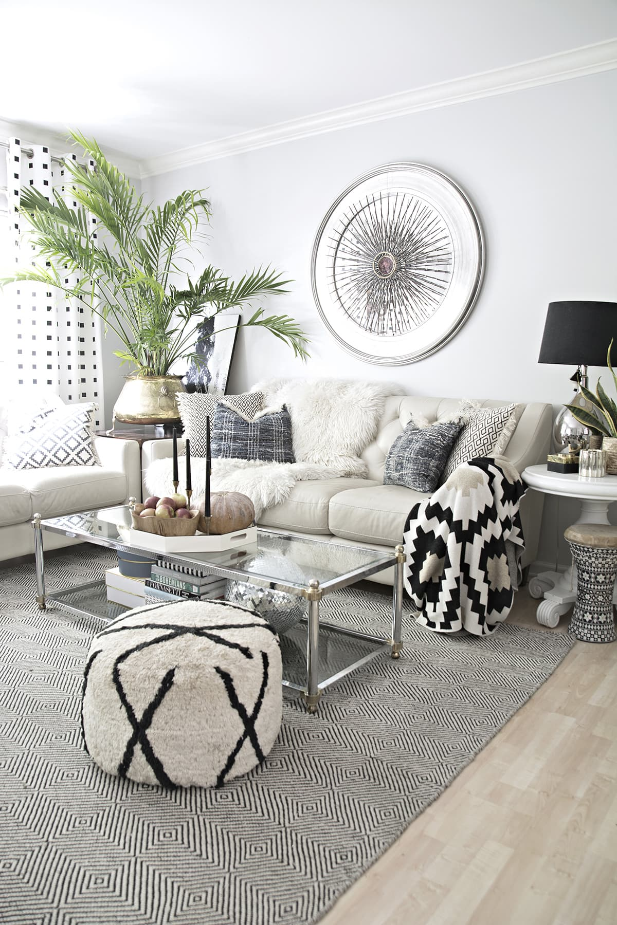 eclectic living room with black and white accents