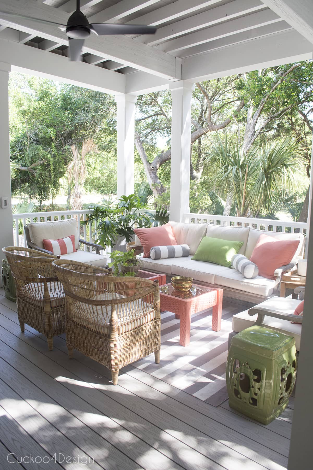 covered back porch with rattan furniture