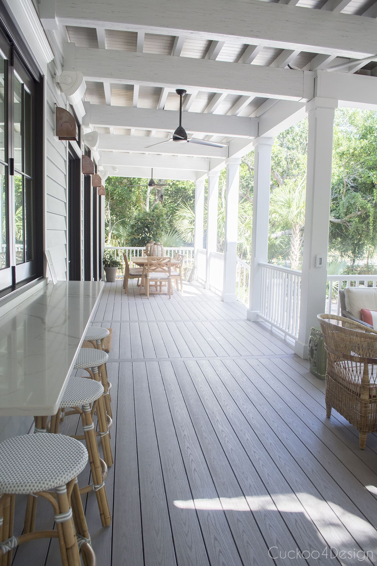 full view of covered back porch