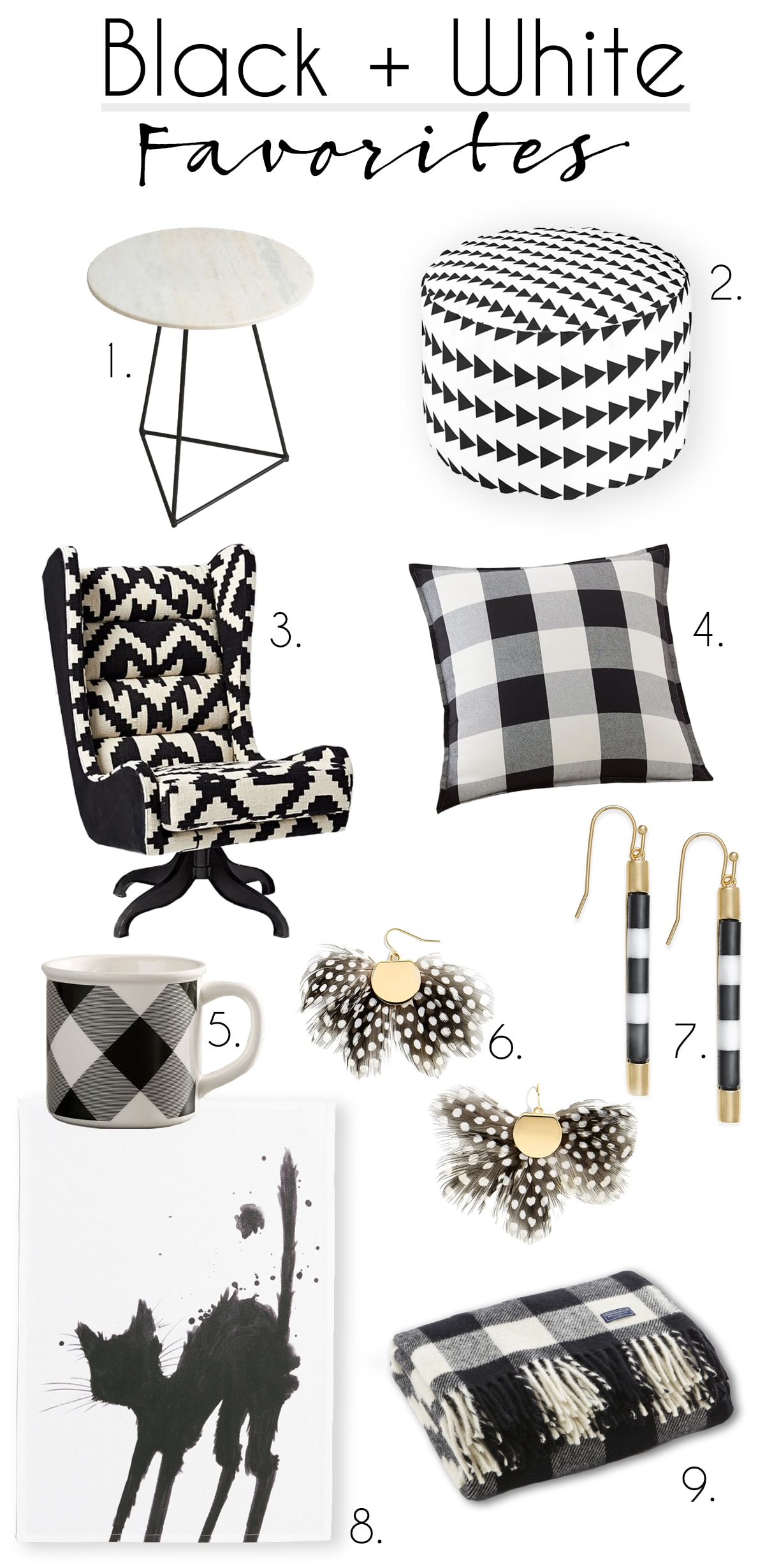 my black and white favorites from around the web, buffalo check pillow, throw and mug, earrings, chair and marble table