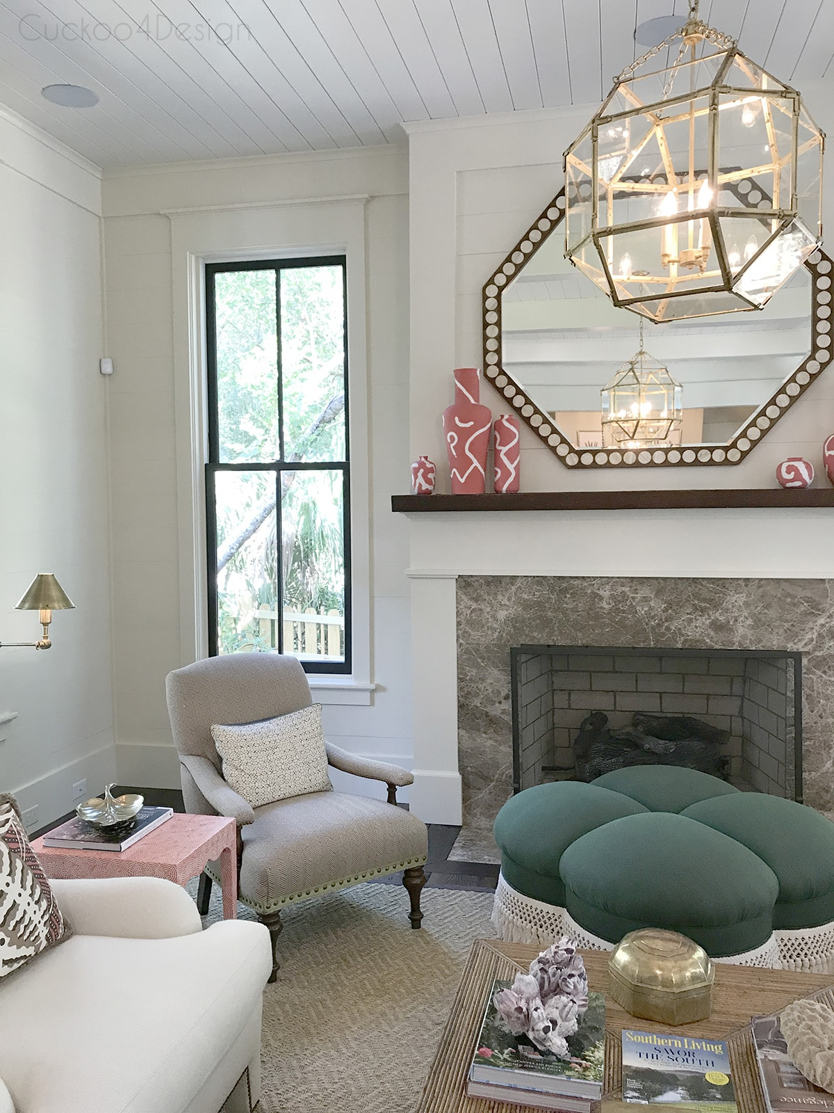 view of living room fireplace area