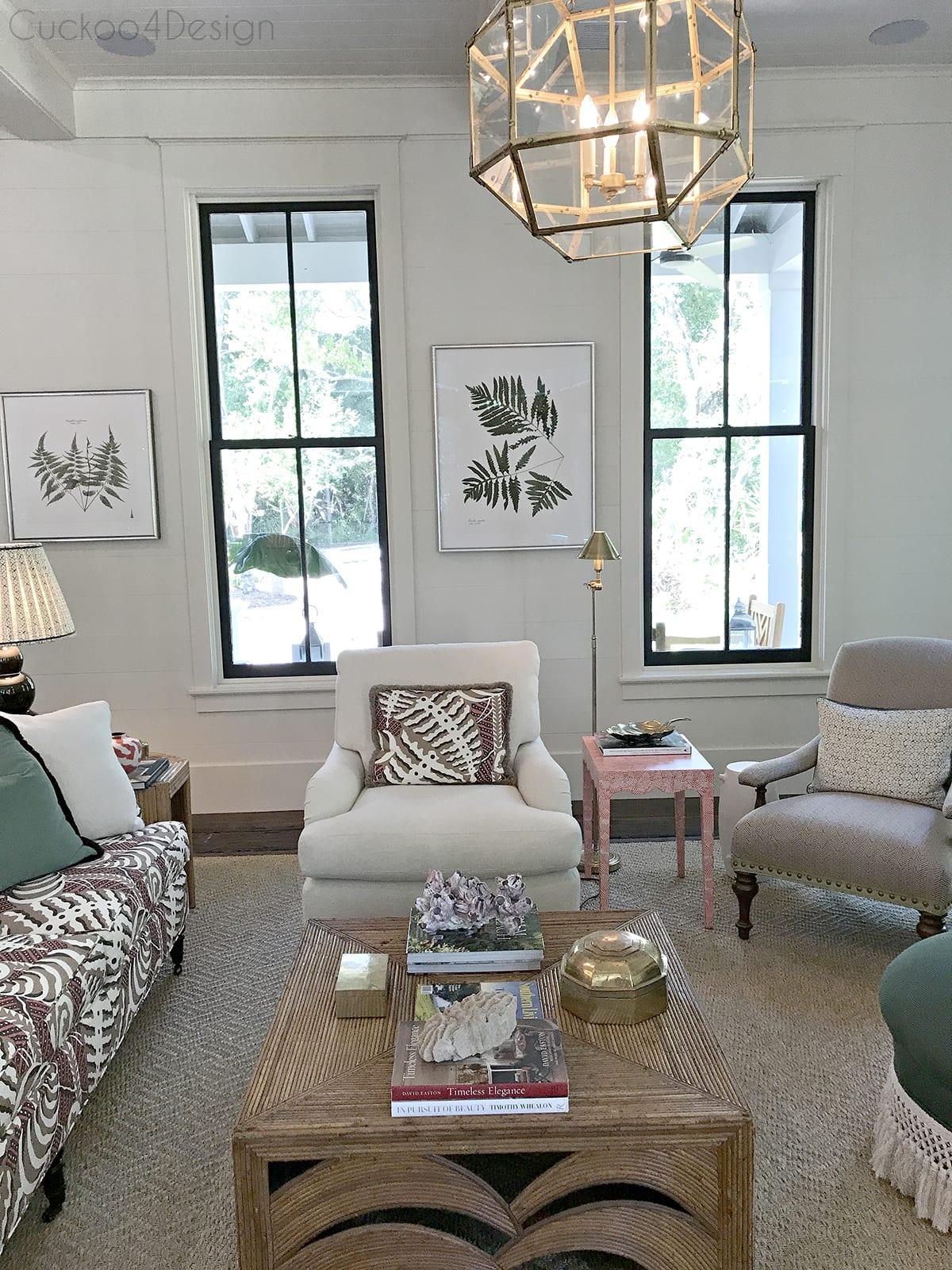 view of black living room windows