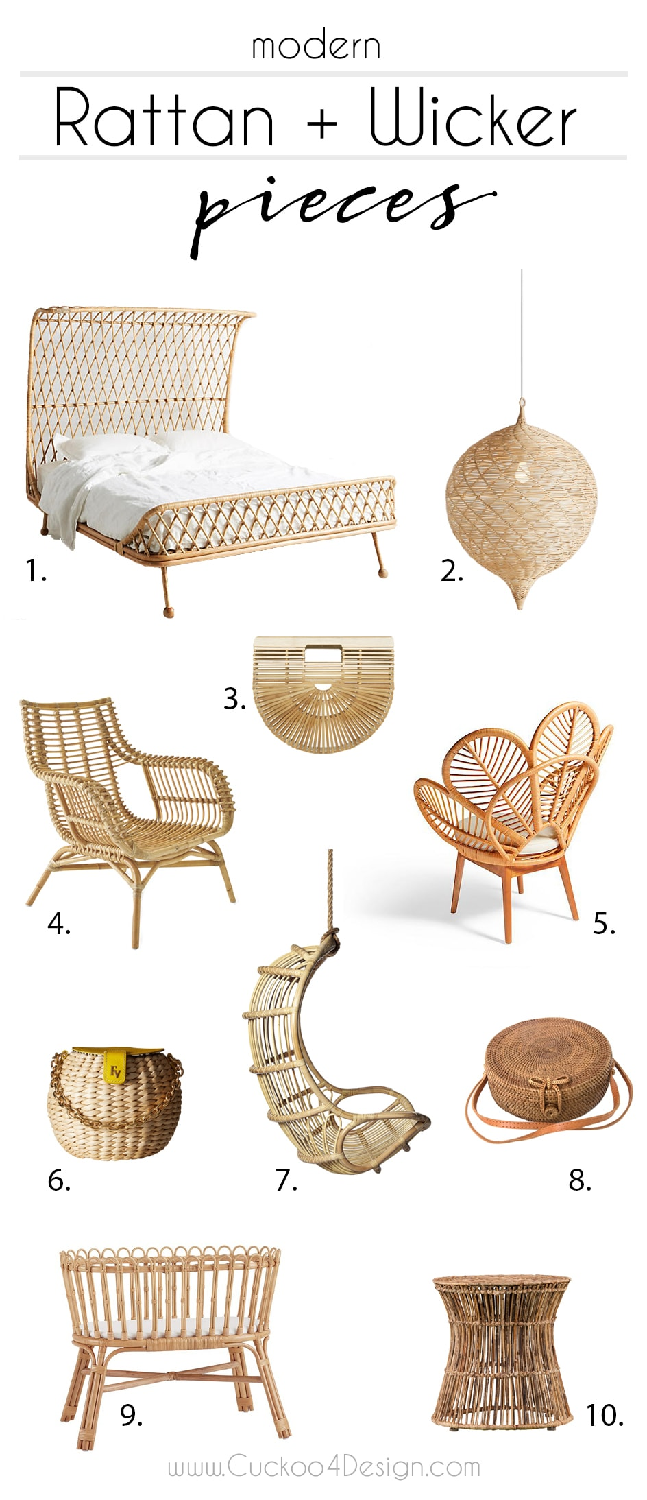 my favorite modern and current rattan pieces: rattan bed, rattan crib, rattan purse, rattan chair, peacock rattan chair, rattan end table, rattan globe pendant