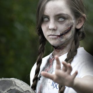 easy tutorial on how to make creepy zombie makeup with some easy to follow steps.