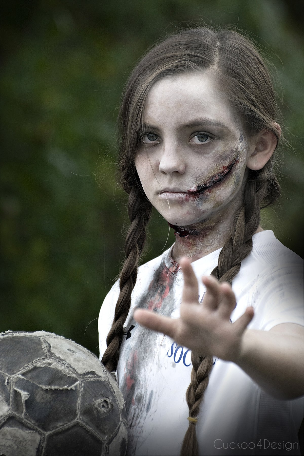 easy tutorial on how to make creepy zombie makeup with some easy to follow steps. If you can decoupage a craft project than you can make zombie makeup too   kids Halloween makeup   affordable DIY costume   soccer zombie
