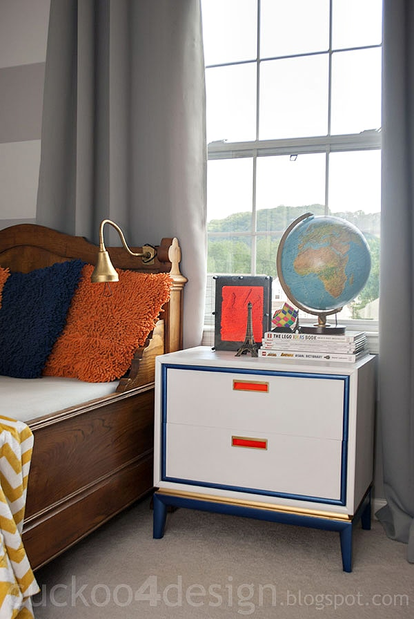Blue gold orange nightstand in lego room