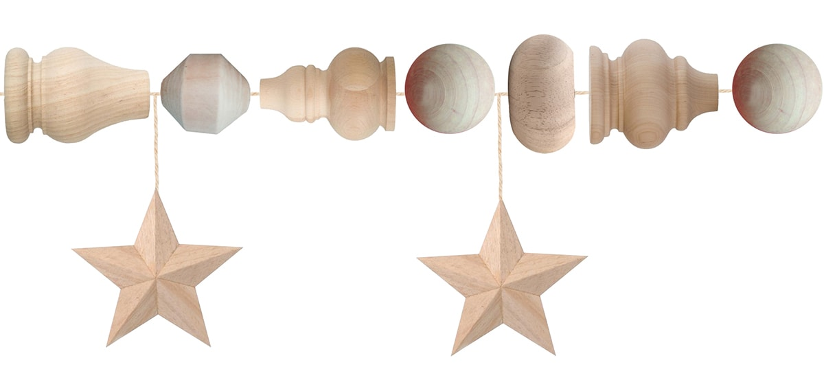 large wood bead garland components