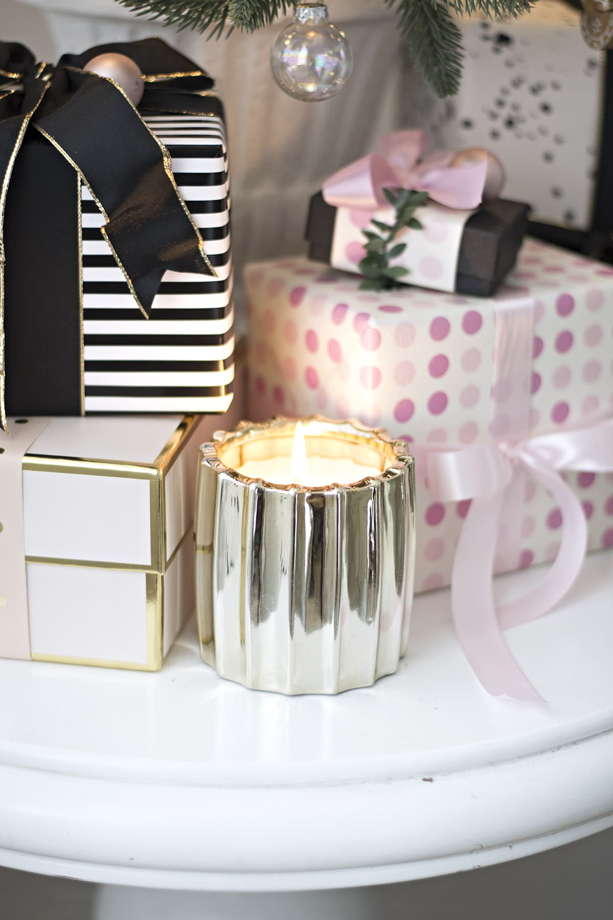 faux wrapped gifts as Christmas decor