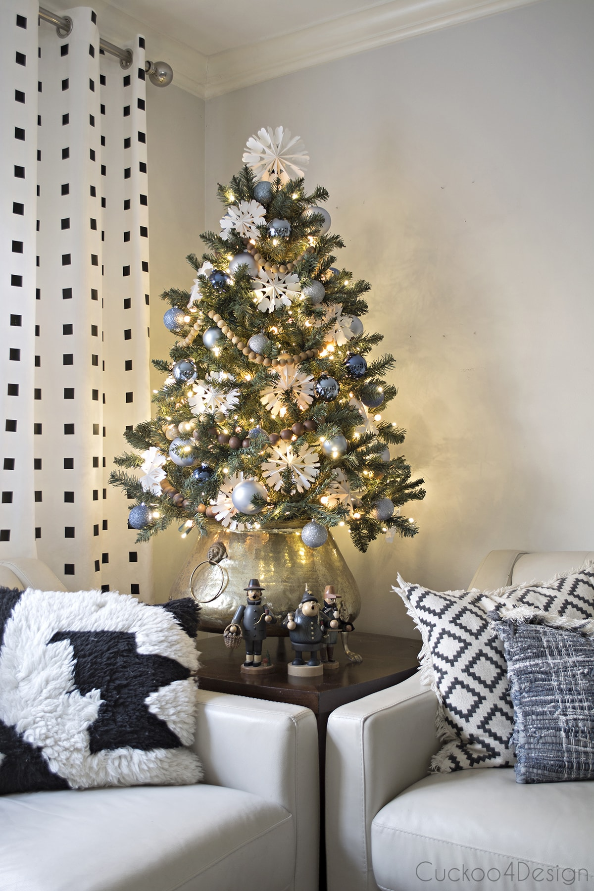 my favorite artificial Christmas trees | blue, white and gold Christmas decor with white snowflakes