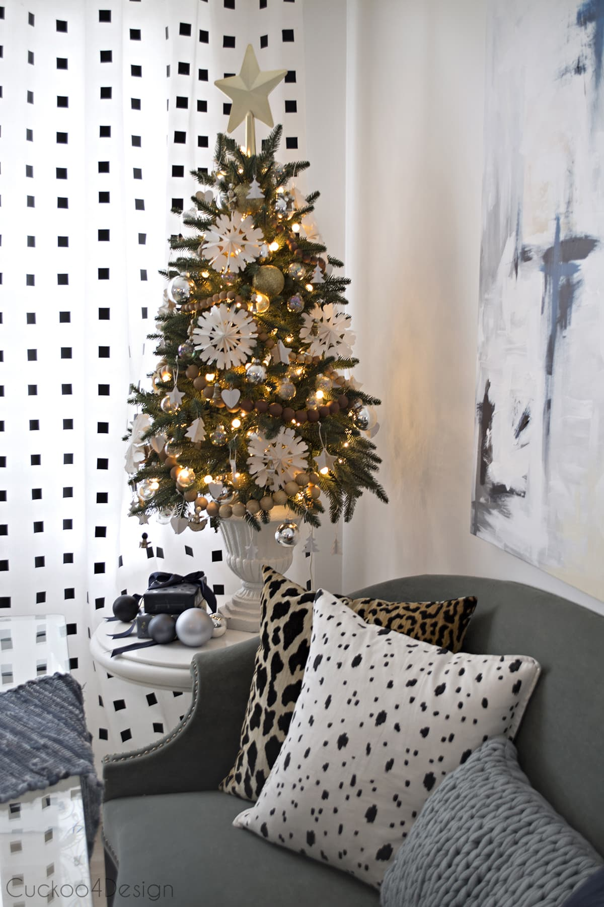 white, wood and gold faux Christmas tree decor