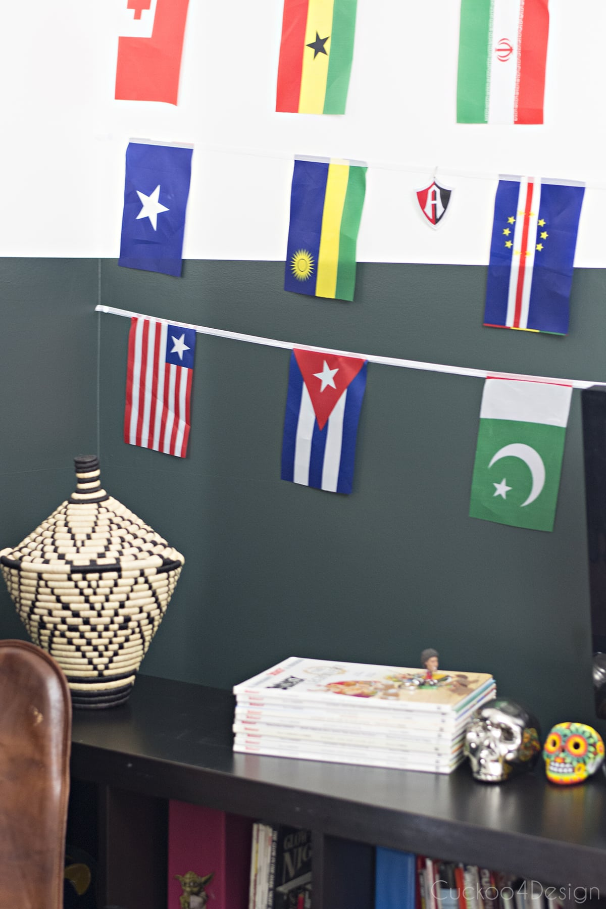 flag banner with soccer patch collection
