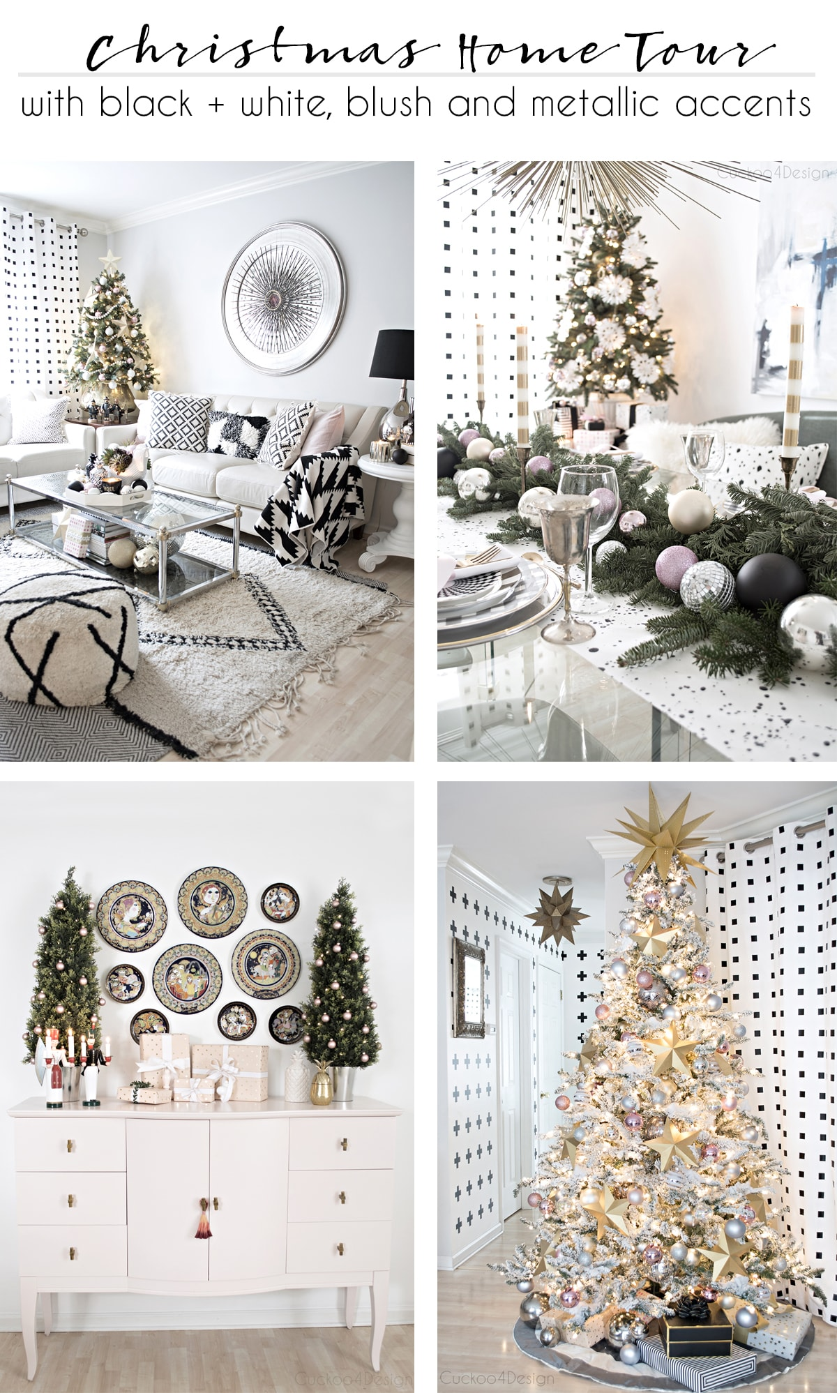 Better Homes and Gardens Christmas Ideas Home Tour in black and white with blush and metallic accents