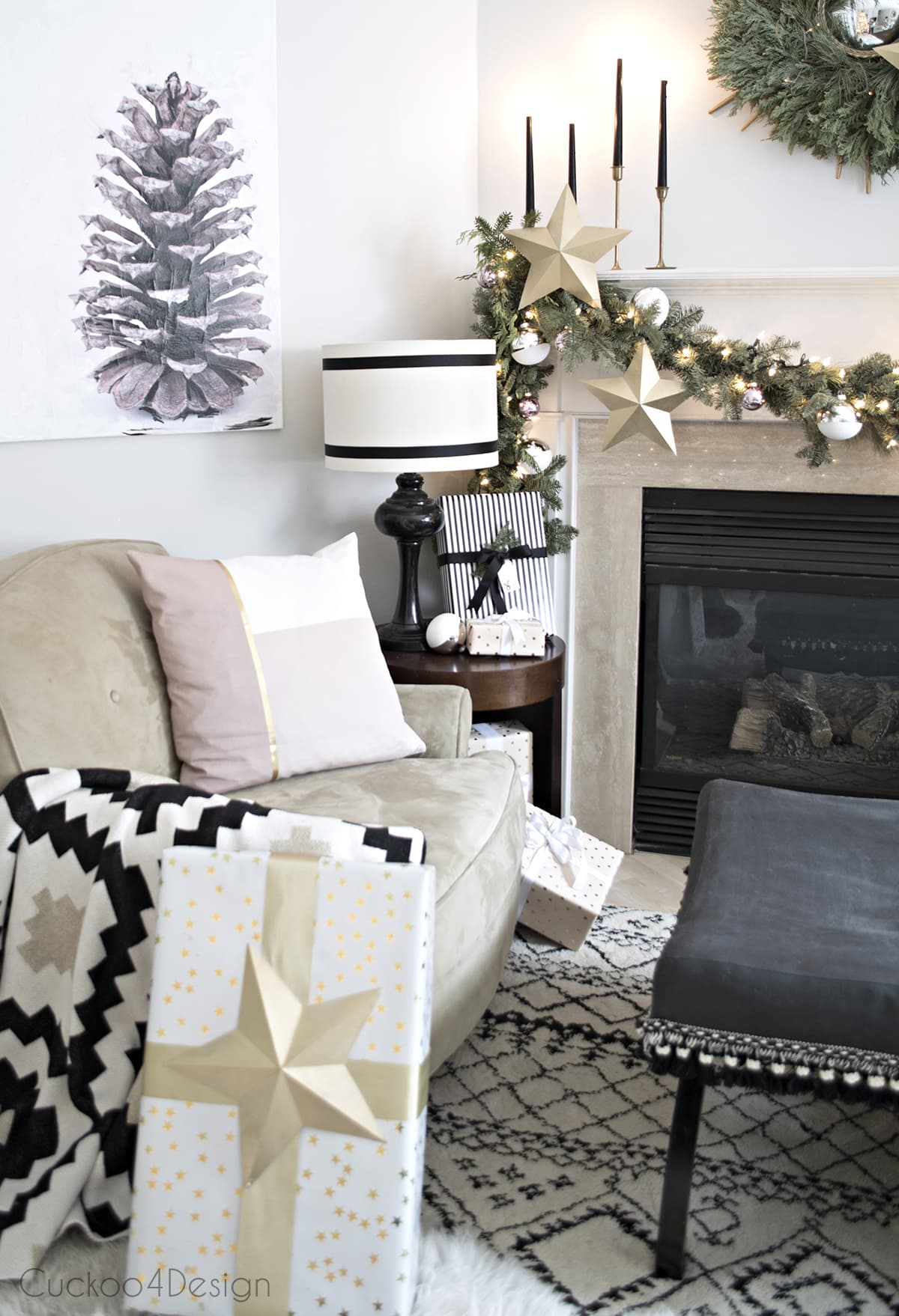 Black And White Fireplace Area With Real Garland And Wreath Pinecone Art Cozy Shag