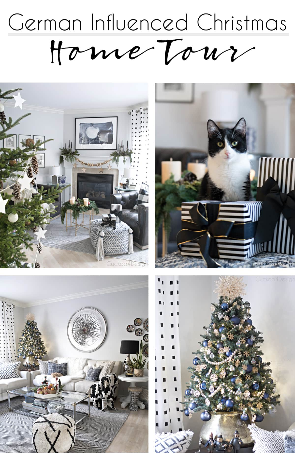 modern Christmas Home Tour with traditional German decor accents like incense smokers, advent wreath, straw stars, vintage Christmas stars, miner and angel