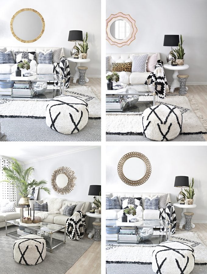 Look how much a statement mirror can change the look of a room in these different mock ups of the same living room