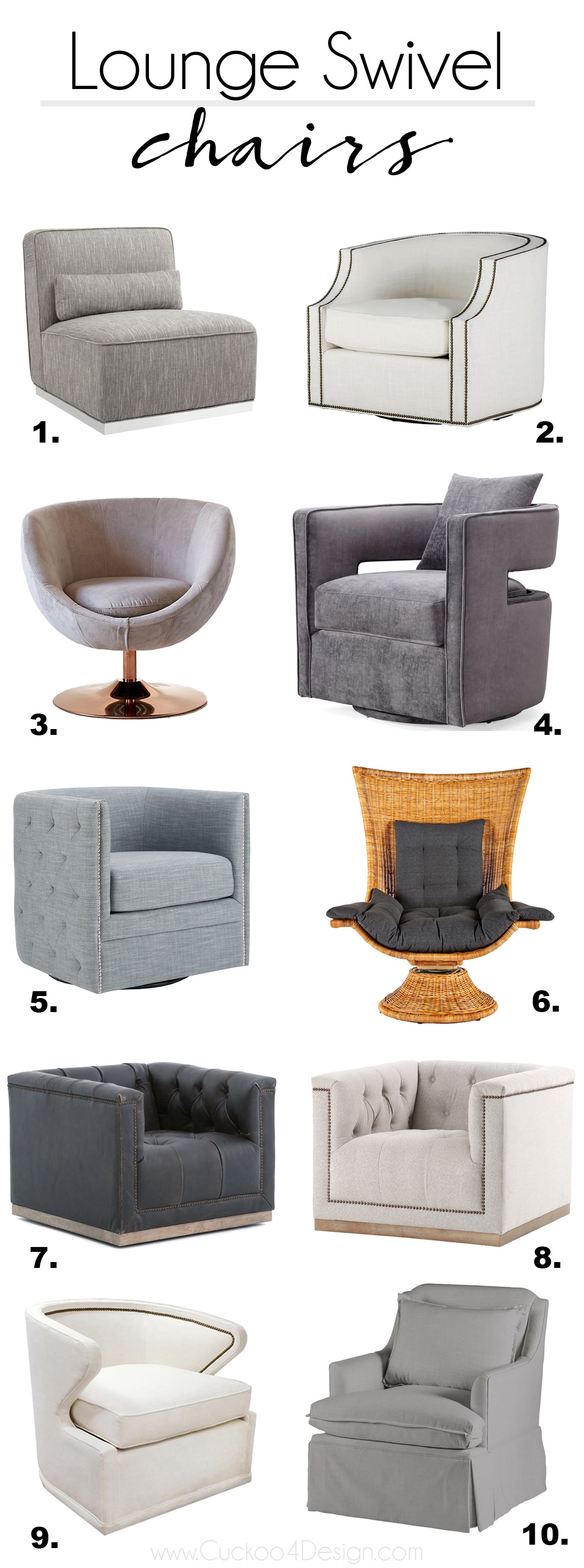 10 most stylish lounge swivel chairs for your living room or nursery | rattan swivel chair | leather swivel chair | retro swivel chair | velvet swivel chair | button tufted swivel chair | tulip swivel chair | studded swivel chair