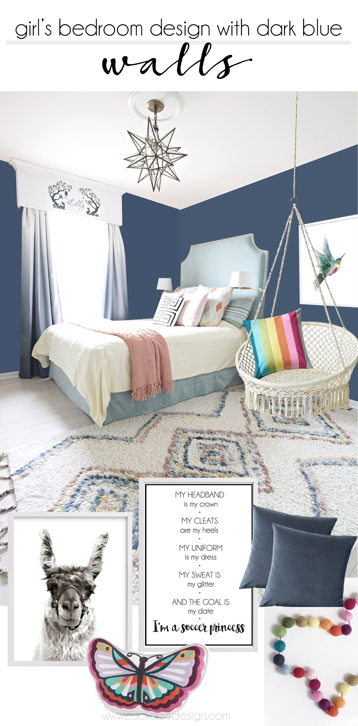 Girls bedroom with dark blue walls | hanging macrame chair | rainbow color decor | humming bird and lama art | soccer quote | turquoise bed