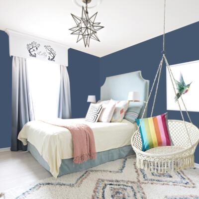 Girls bedroom with Dark Blue Walls