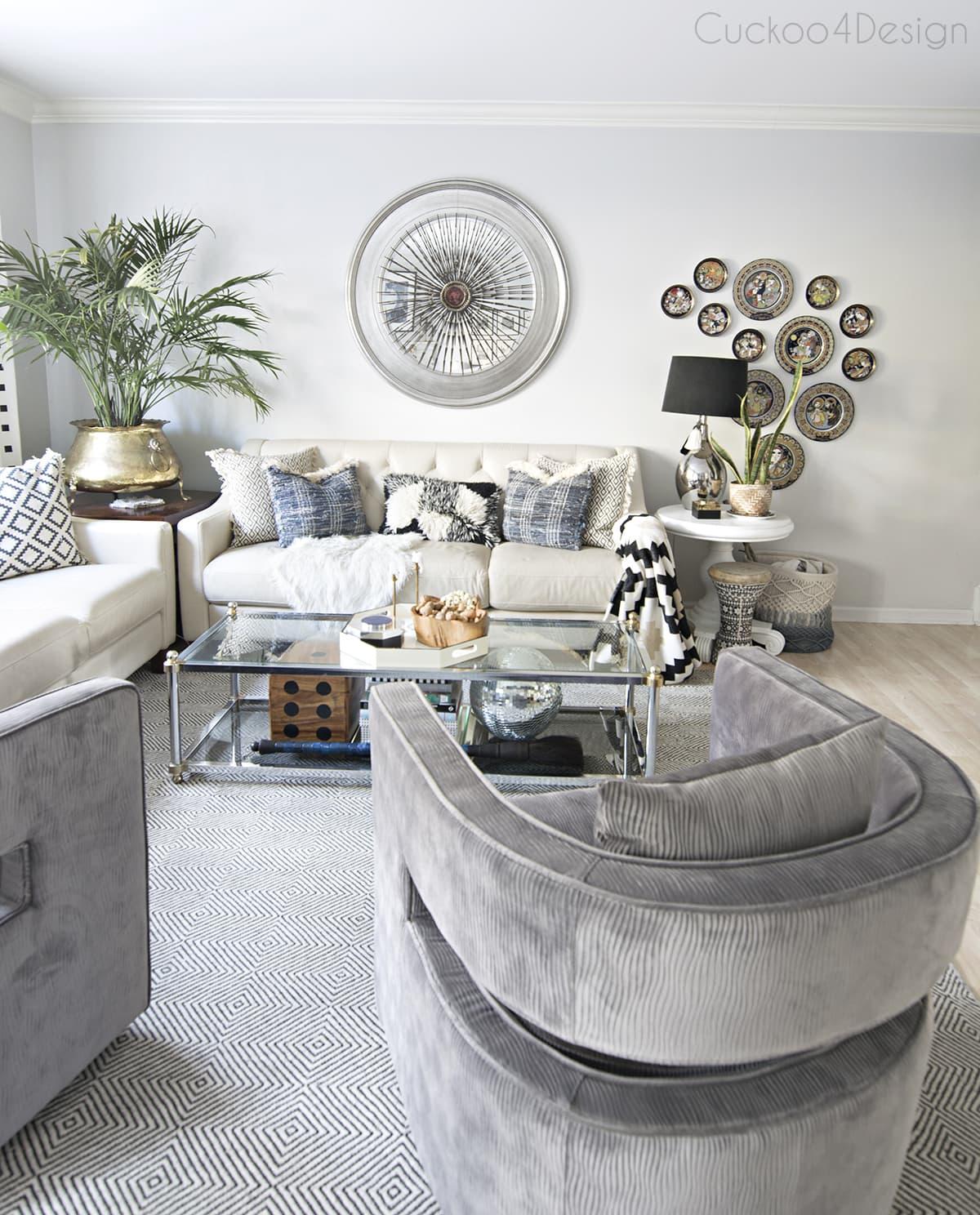 grey velvet swivel chairs