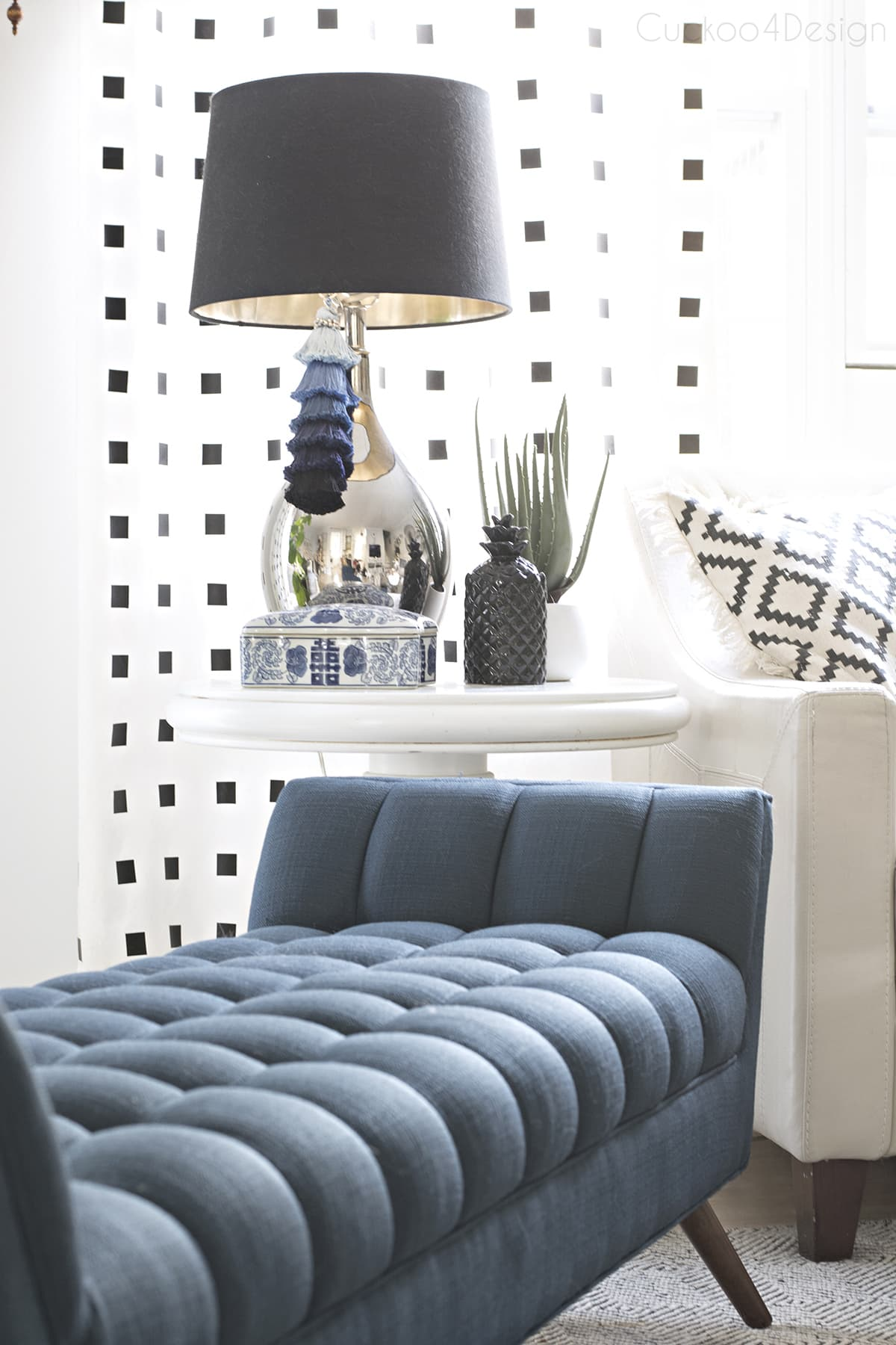 blue button tufted chaise in living room  with black and white accents | Modway Response Mid-Century Modern Bench Large Upholstered Fabric in Azure |