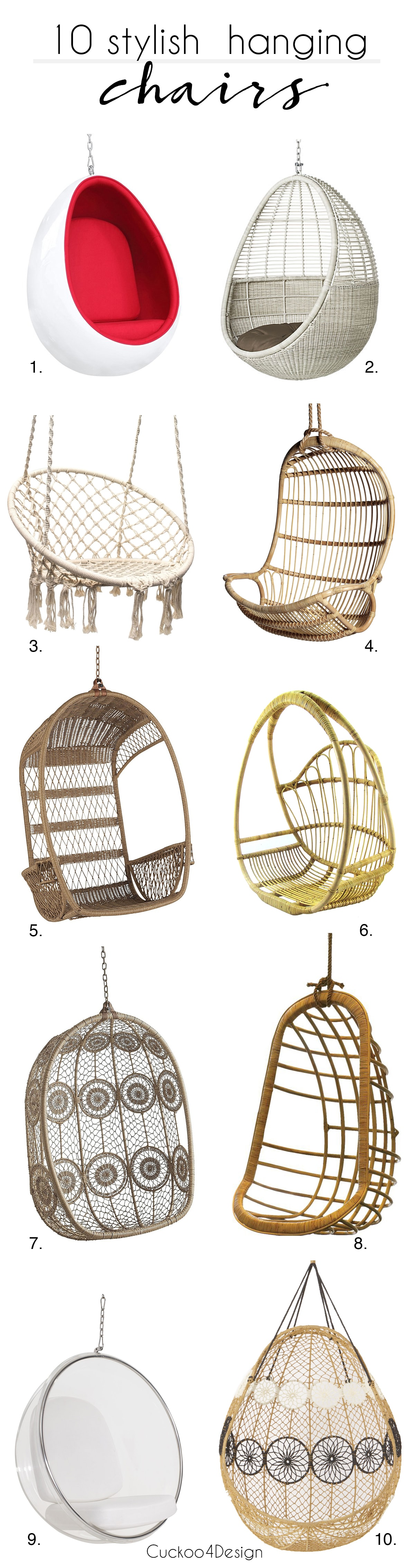 10 Stylish Hanging Chairs | Rattan Hanging Chair | Acrylic Hanging Chair |  Bubble Hanging Chair