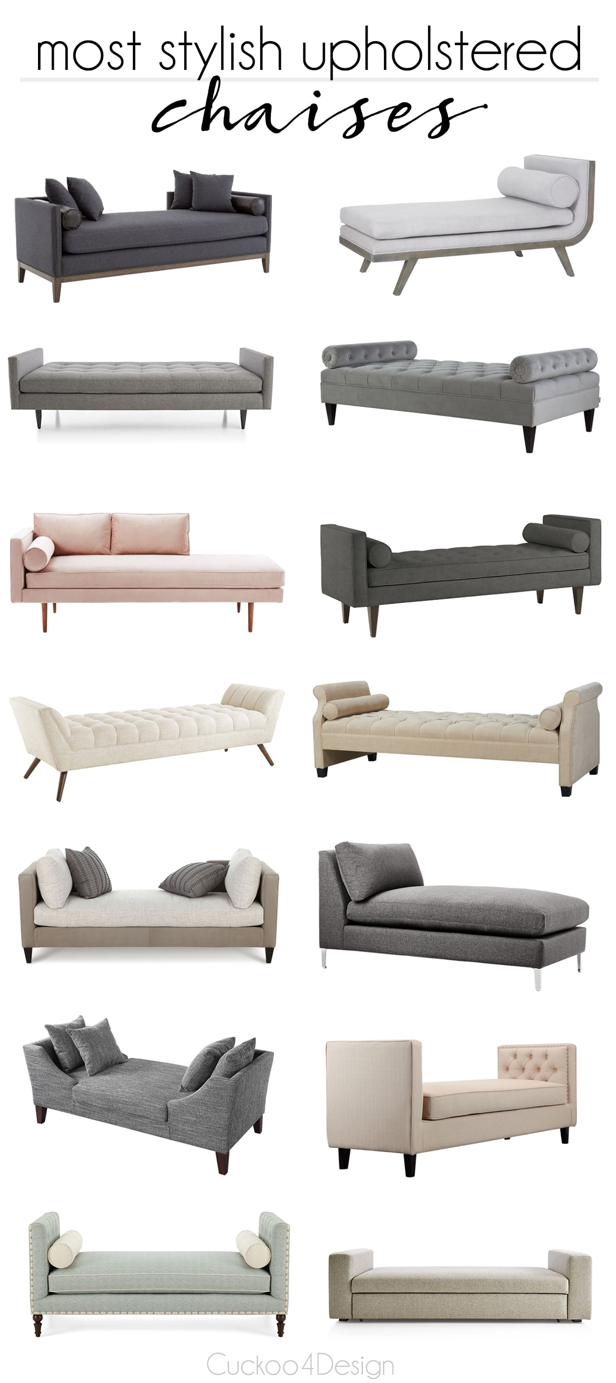 14 most stylish upholstered chaises and benches | button tufted chaise | chaise for in front of a bed | bench for in front of a bed | nailhead trim chaise | nailhead trim bench | daybeds |