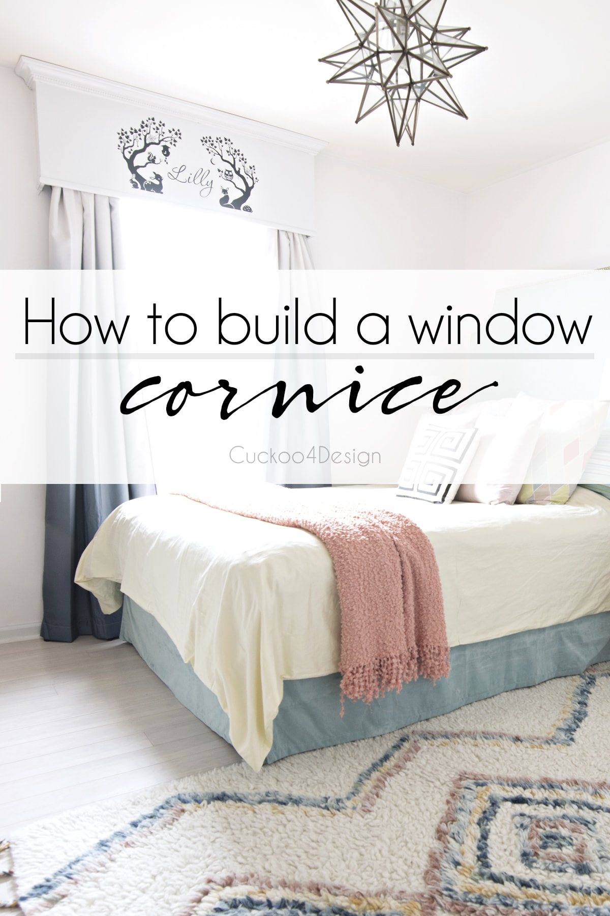 How to build a painted window cornice | DIY window valance | how to build a Window valance | black and white window valance | window cornice