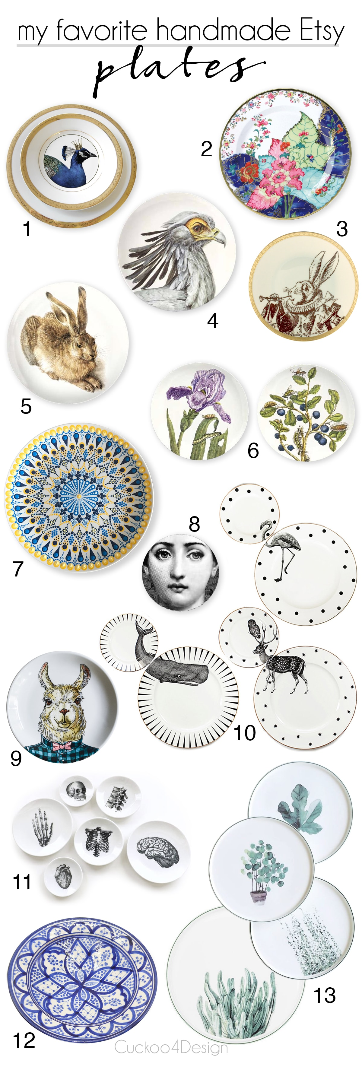 my favorite handmade plates on Etsy | plate gallery wall | handmade plates | botanical plates | Alice in Wonderland plates | anatomy plates | Moroccan plates | Indian plates