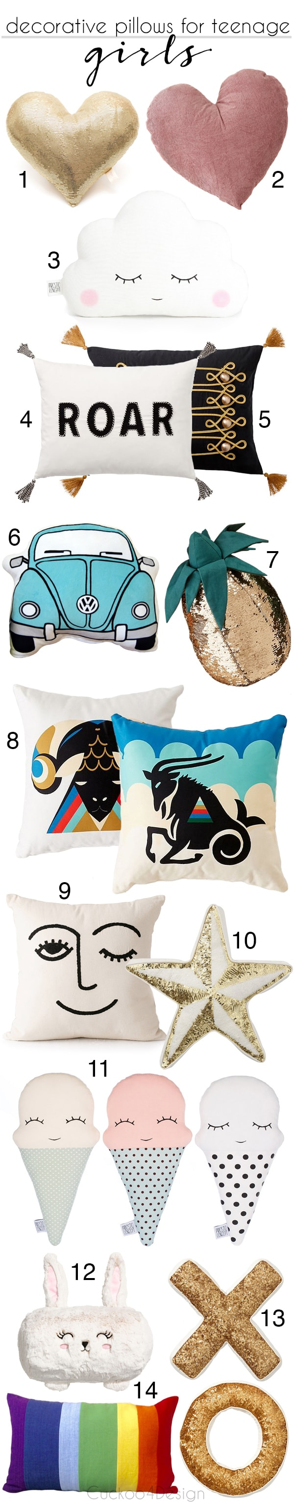 best decorative throw pillows for teenage girls