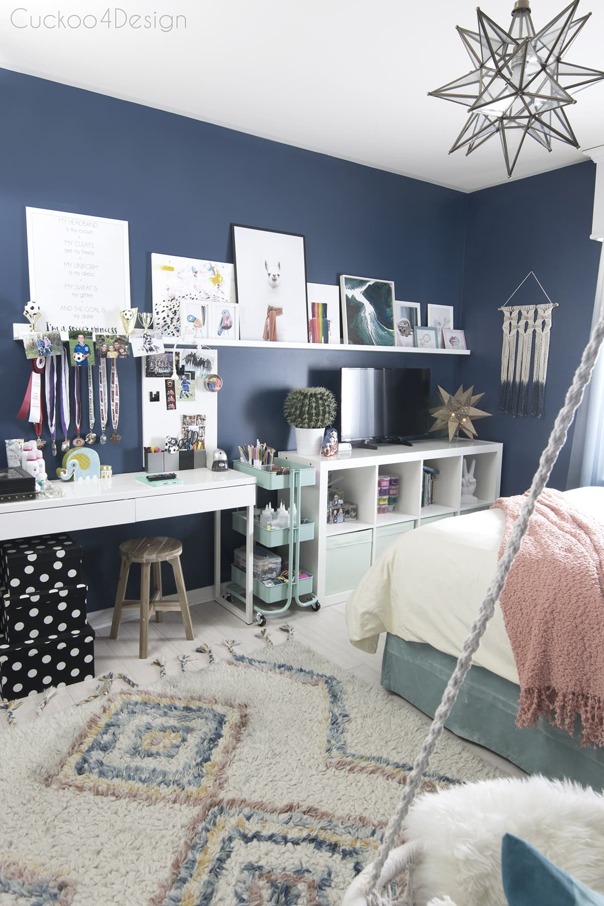 kids crafting and coloring storage solution in a dark blue girls room