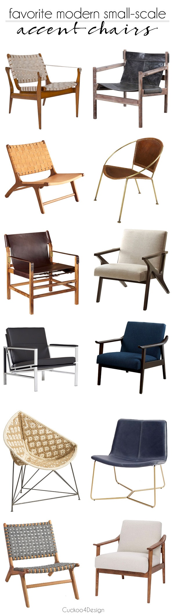 a selection of my favorite low profile modern small-scale accent chairs | leather slingback chairs | midcentury modern living room chairs | small-scaled living room chairs | metal frame accent chair | wood frame accent chairs | #accentchairs #livingroomchairs #livingroomaccentchairs