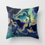 gold, dark blue and turquoise marble pillow