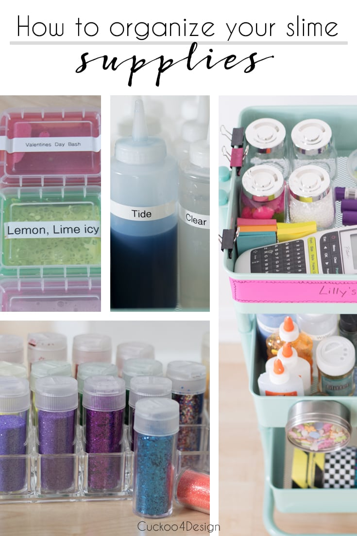 How to organize your slime supplies | making slime | organizing your slime concoctions | organizing your slime supplies | organizing glitter | organizing craft supplies | craft cart | slime cart | how to not make a mess with slime