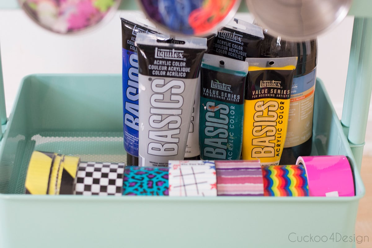 acrylic paint and duct tape in slime making craft cart