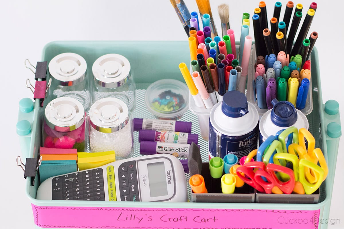shaving cream, label maker and other craft items to make slime