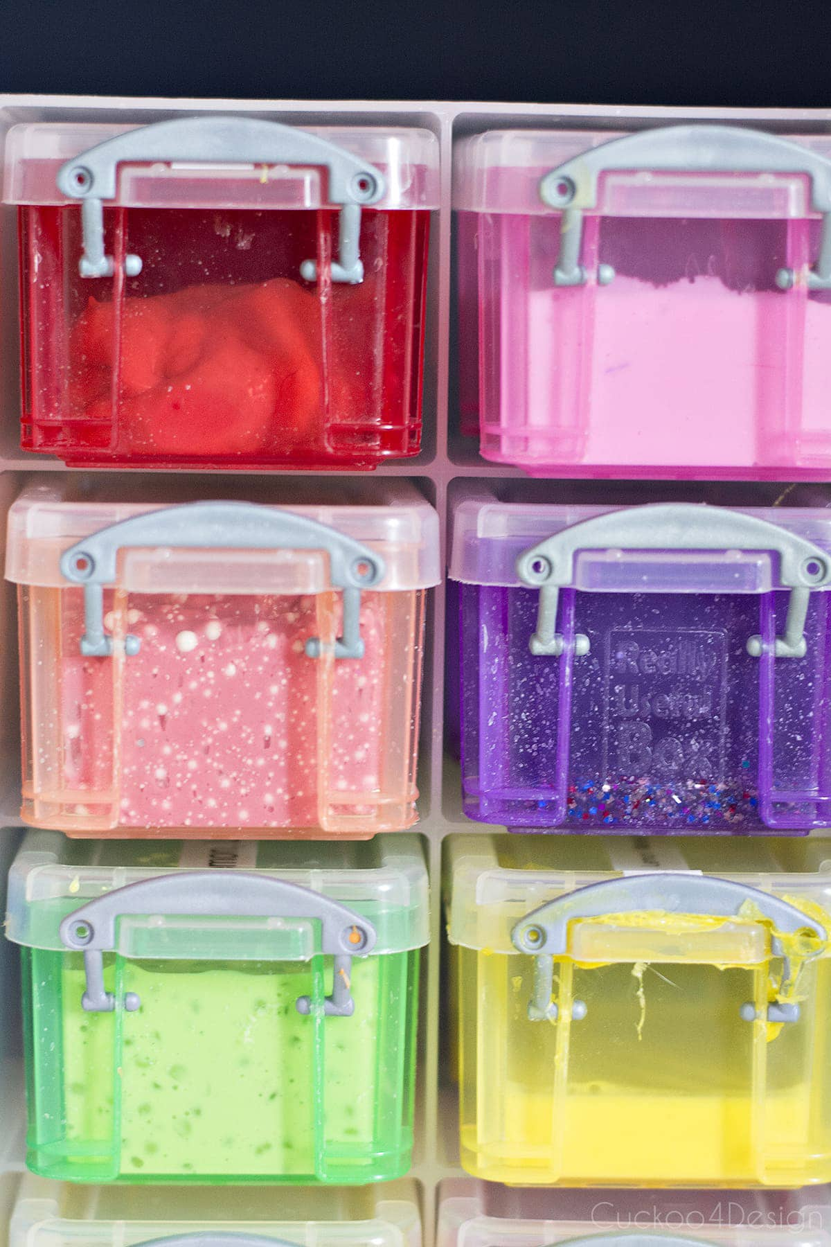 colorful storage containers for slime