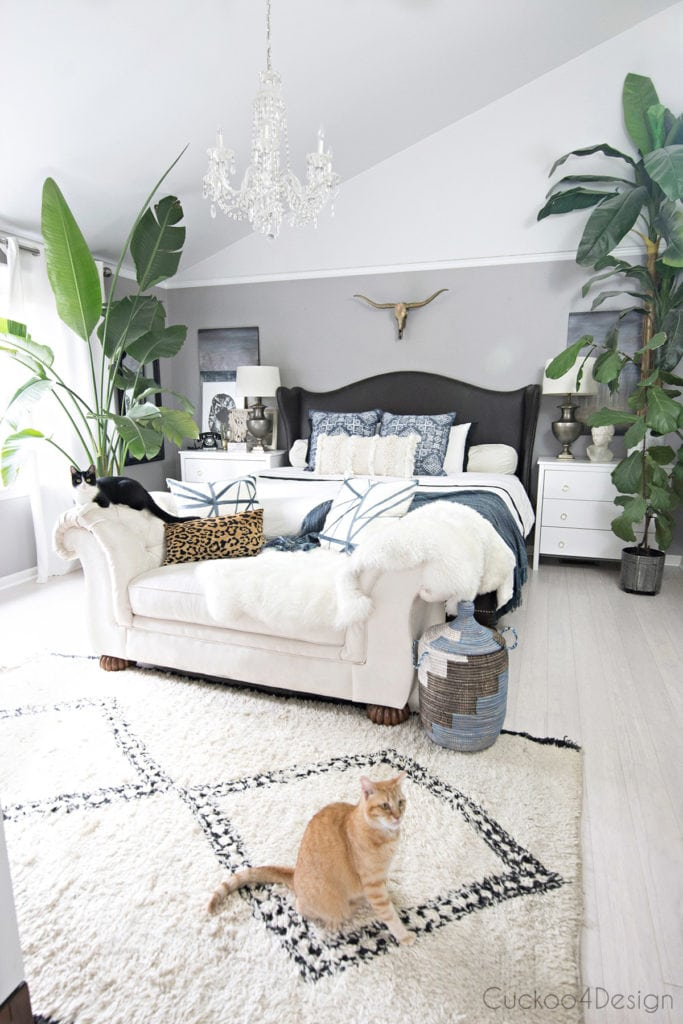 our beautiful bedroom with cat-friendly decor