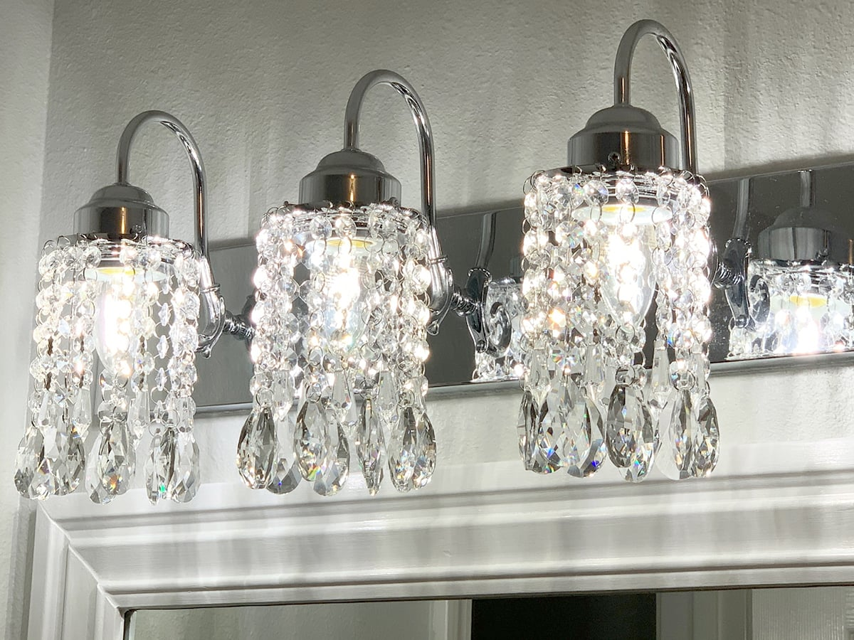 using chandelier parts to make crystal vanity light shades