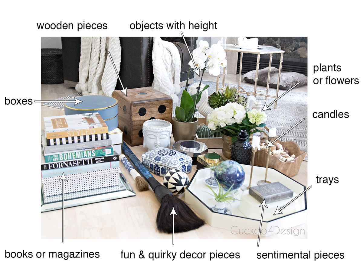 decorating accessories used for styling a coffee table