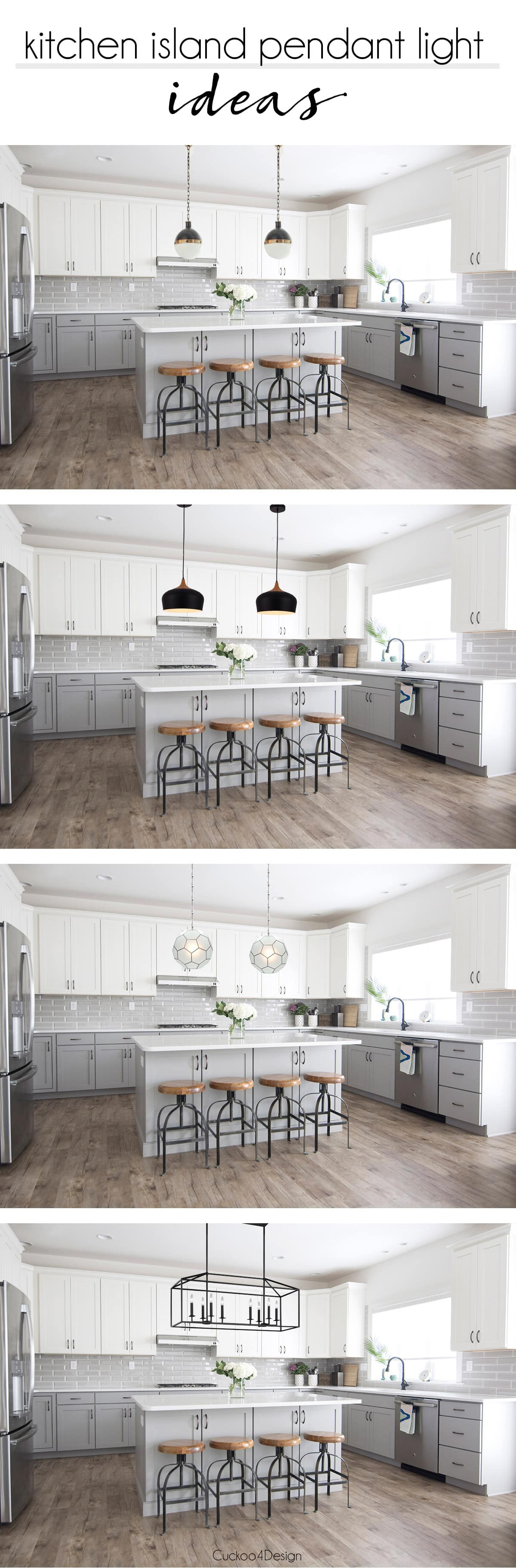 My Friends Gorgeous Gray And White Kitchen CuckooDesign - Large island pendants