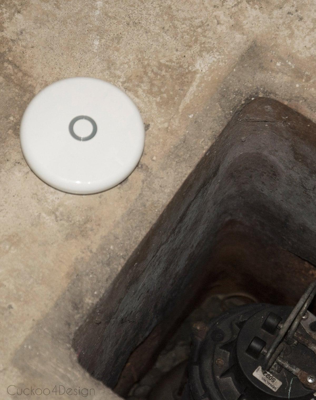 water leak detector next to sump pump