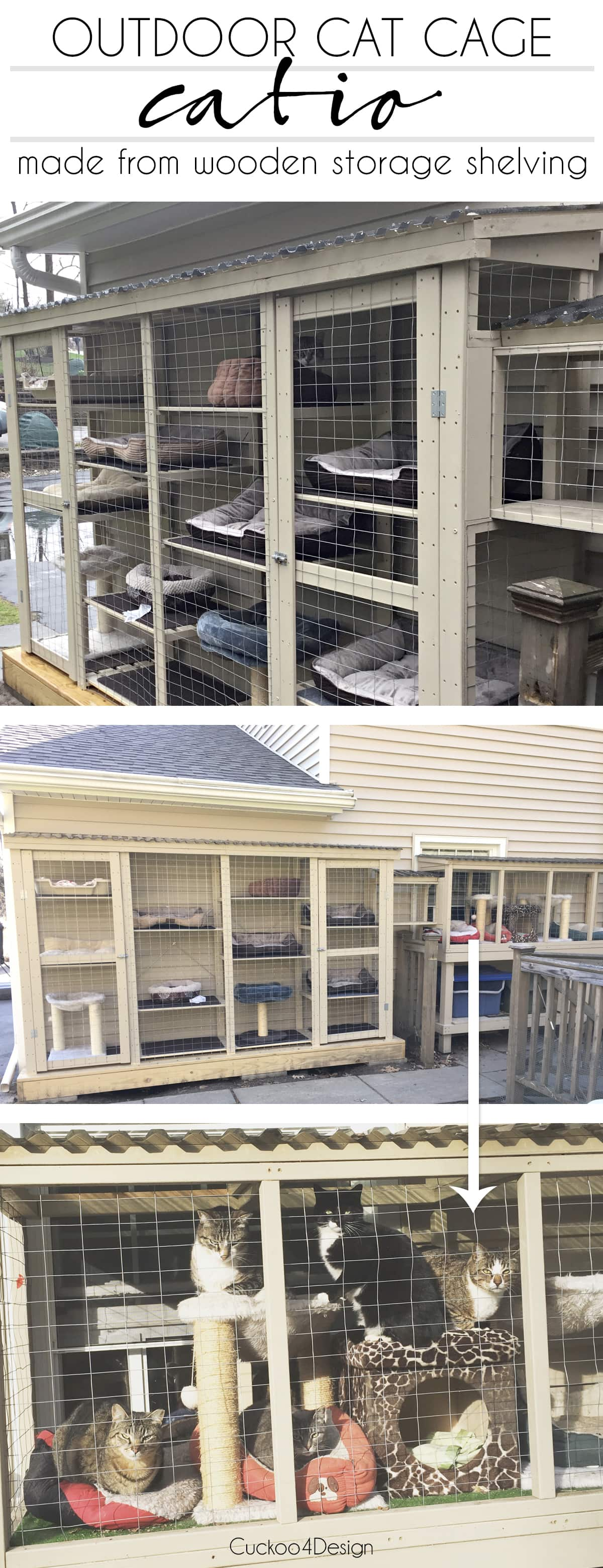 outdoor cat cage catio made from wooden shelving unit