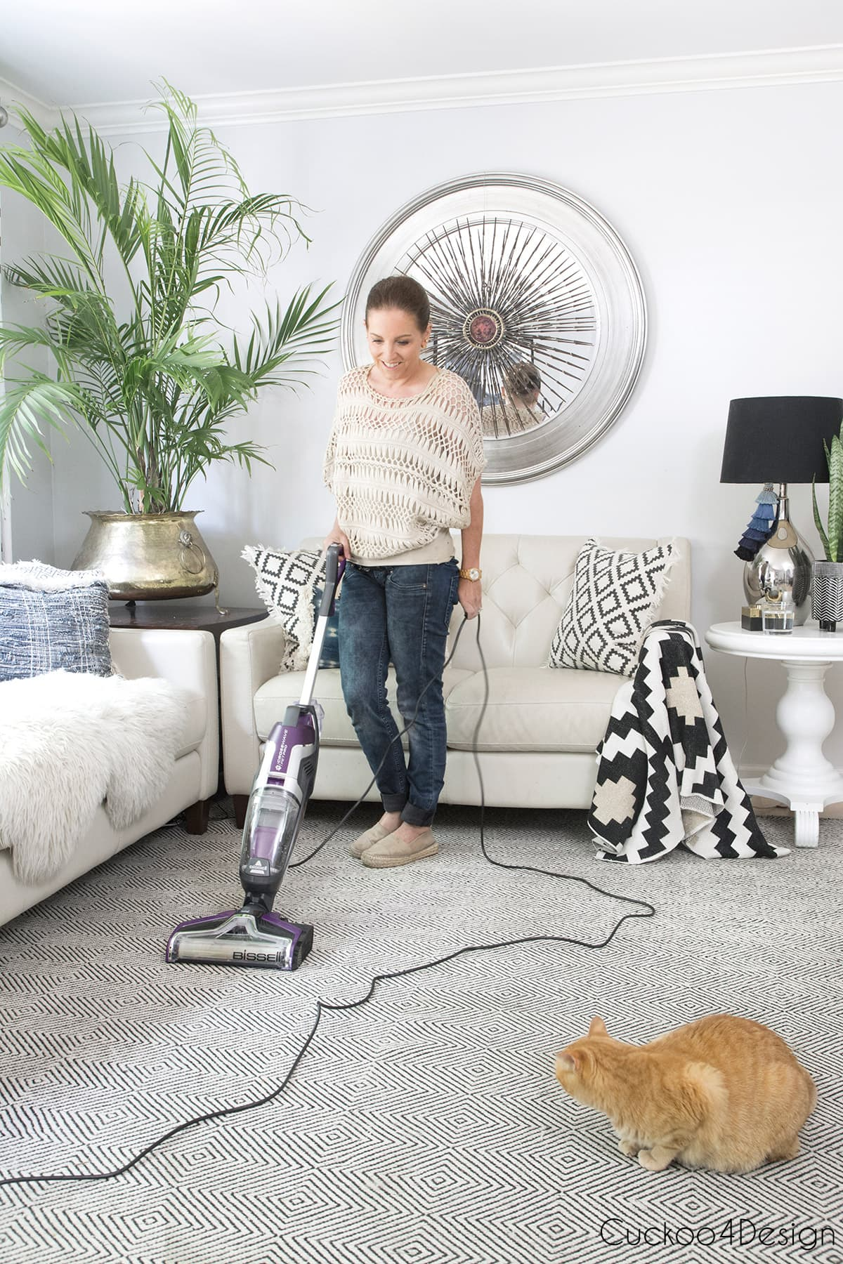 cleaning area rug with BISSELL crosswave pet pro