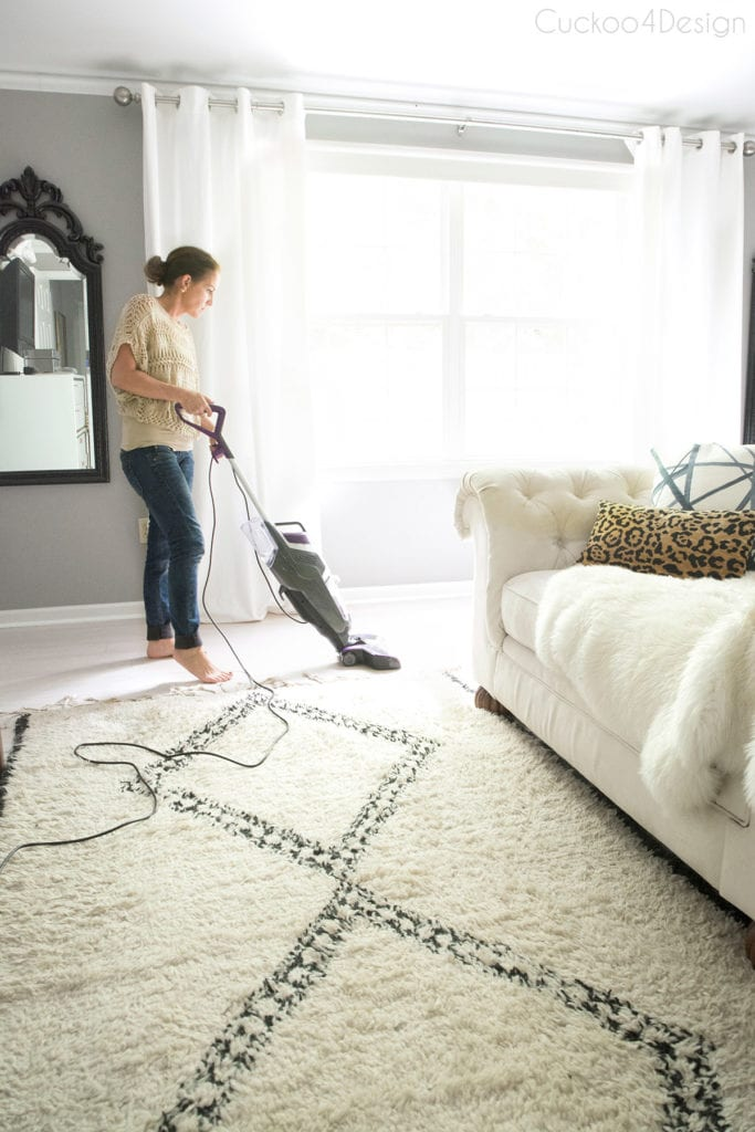 transitioning from shag rug to hardwood with the BISSELL crosswave pet pro